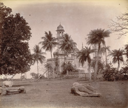 General view of the Mosque of Abu Nasir Khan, with statue lying in foreground, Jajpur, Cuttack District